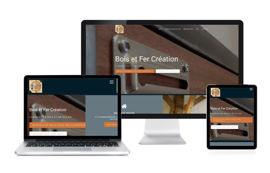 Site Wordpress Bois et Fer Création, charpenterie, metallerie, réalisé par JN-Rédaction Web à Vannes.