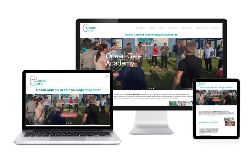 JN-Rédaction Web a réalisé le site vitrine et son contenu pour Ocean Gate, surf shop et coaching à St Pierre Quiberon.