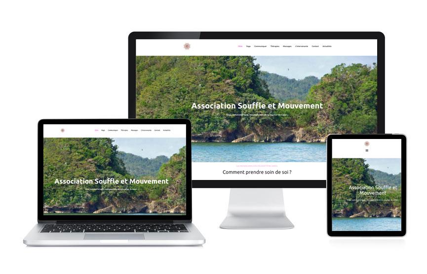 JN-Rédaction Web a personnalisé un site Wordpress, vitrine de l'Association Souffle et Mouvement à Meucon.
